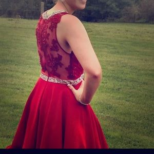 Red lace homecoming dress with rhinestone belt